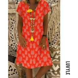 Red V neck pineapple print casual dress