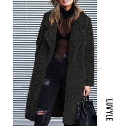 Black Fashion Lapel Long Sleeve Plain Casual Coats