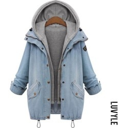 Light Blue Hooded Drawstring Flap Pocket Denim Two Piece Coats