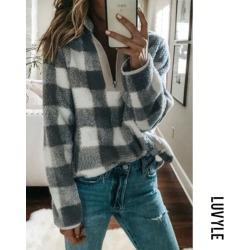 Gray Band Collar Zipper Gingham Sweaters