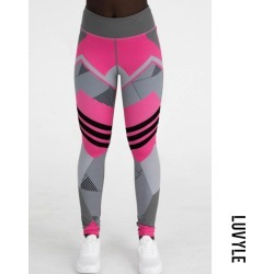 Pink High-Waisted Printed Leggings For Women