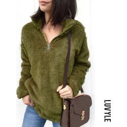 Green Band Collar Zipper Plain Sweaters