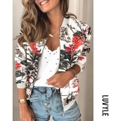 Black Floral Long Sleeve Zip Jacket