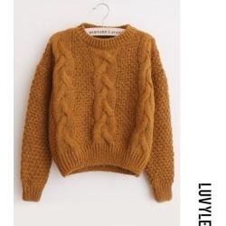 Khaki Variegated Twist Round Neck Sweaters