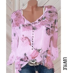 Peach Autumn Spring Polyester Women Square Neck Decorative Button Floral Printed Long Sleeve Blouses