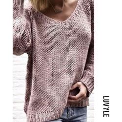Pink V Neck Plain Sweaters