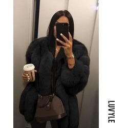 Black Faux Fur Collar Plain Outerwear