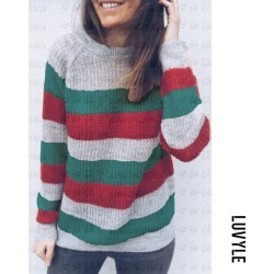 Green Crew Neck Striped Casual Sweaters