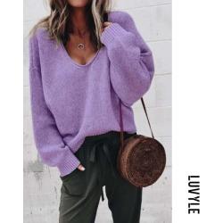 Purple Casual Plain Long Sleeve Sweaters