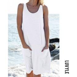 White Round Neck Sleeveless Pocket Casual Dress