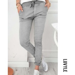 Gray Slim Leg Belt Plain Pants