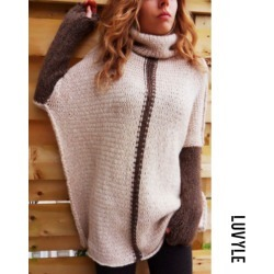 Pink Turtle Neck Patchwork Batwing Sleeve Sweaters
