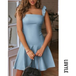 Light Blue Spaghetti Strap Plain Casual Dresses