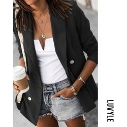 Black Women Fashion Plain Blazers