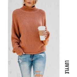 Khaki Band Collar Plain Batwing Sleeve Sweaters