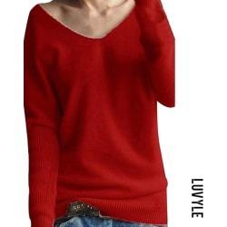 Red V Neck Plain Basic Sweaters