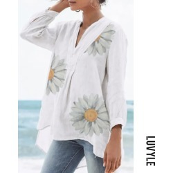 White Daisy V Neck Long Sleeve Blouse