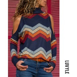 Dark Blue High Neck Abstract Print Sweaters