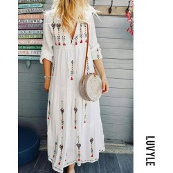 White V Neck Floral Printed Holiday Embroidered Floral Dresses