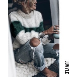 Green High Neck Color Block Patchwork Sweaters
