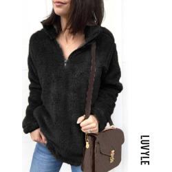 Black Band Collar Zipper Plain Sweaters