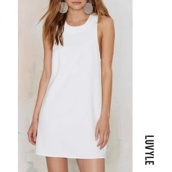 White Round Neck Cross Straps Plain Casual Dresses