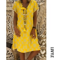 Yellow V neck pineapple print casual dress