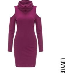 Purple Cowl Neck Cutout Plain Bodycon Dresses