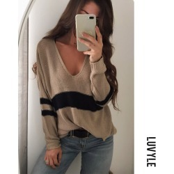 Khaki V Neck Knit Hollow Out Sweaters