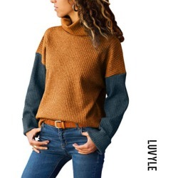 Yellow High Neck Patchwork Sweaters