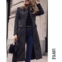 Leopard print Fashion Leopard Print Long Sleeve Coats
