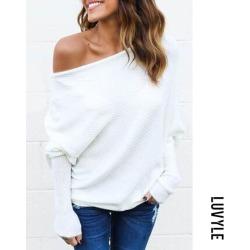 White Open Shoulder Plain Batwing Sleeve Sweaters