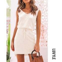 White V Neck Belt Solid Knit Casual Dress