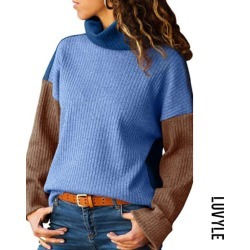 Blue High Neck Patchwork Sweaters