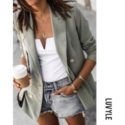 Light Green Women Fashion Plain Blazers