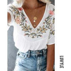 White Women's V-Neck Flowers Loose White T-Shirts