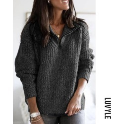 Black Band Collar Zipps Decoration Solid Color Sweaters