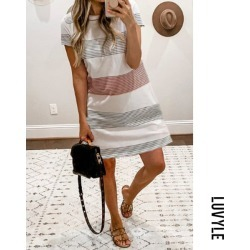 Stripe Round Neck Striped Casual Dresses