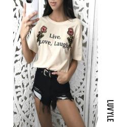 Khaki Casual Round Collar Rose Letter Print Short Sleeve T-Shirt