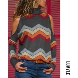 Gray High Neck Abstract Print Sweaters
