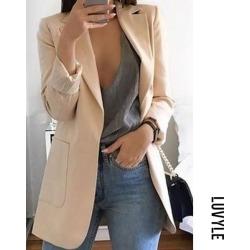 Khaki Fold Over Collar Plain Blazers