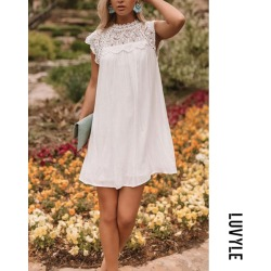White Crew Neck Decorative Lace Casual Dresses