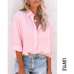 Pink Solid A Lapel Long Sleeve Blouse