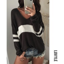 Black V Neck Knit Hollow Out Sweaters