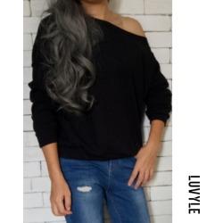 Black One Shoulder Plain Basic Sweaters