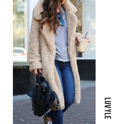 Apricot Fashion Lapel Long Sleeve Plain Casual Coats