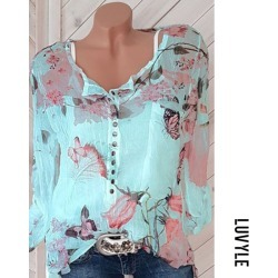 Light Blue Autumn Spring Polyester Women Square Neck Decorative Button Floral Printed Long Sleeve Blouses