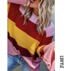 Red Round Neck Striped Bell Sleeve Sweaters