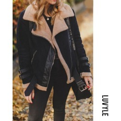Black Faux Fur Collar Lapel Zipper Plain Coats