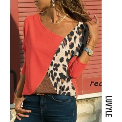 Red Asymmetric Neck Patchwork Contrast Stitching Color Block Long Sleeve T-Shirts